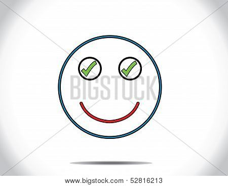Concept Design Vector Illustration Art : Smiling Face Of Person Who Has Done All The Pe