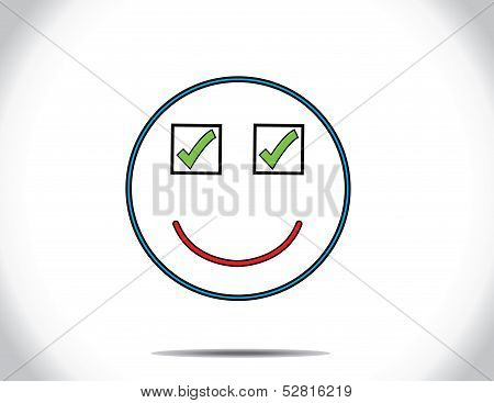 Concept Design Vector Illustration Art : Smiling Face of person Who Done All The Pending tasks