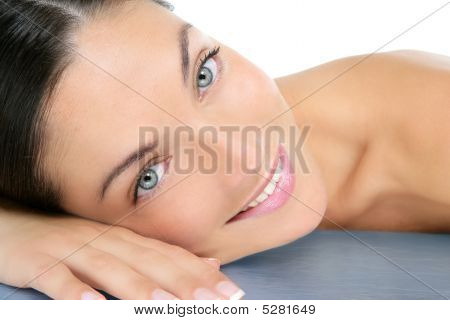 Beautiful Clean Cosmetics Woman  Close Up Portrait