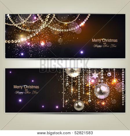 Set of Elegant Christmas banners with golden garland. Vector illustration