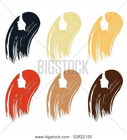 Set of icons of woman head with different hair colors
