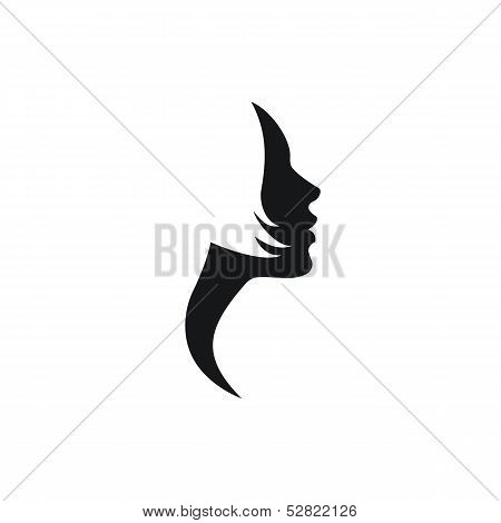 Vector woman face profile with short hair
