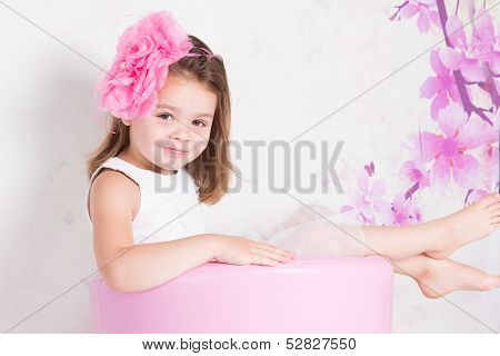 Smiling child relaxing