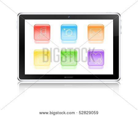 Multimedia Tablet Computer Concept. Vector Illustration