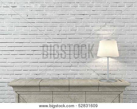 fireplace with lamp