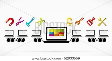 poster of Laptop production line factory abstract vector illustration