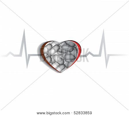 Abstract Human heart and pills. Cardiovascular disease treatment concept. poster