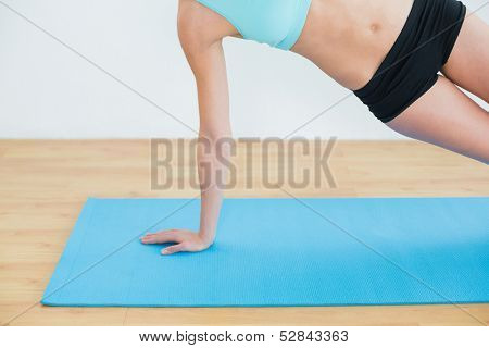 Close-up of a slim young woman doing the side plank yoga pose in fitness studio