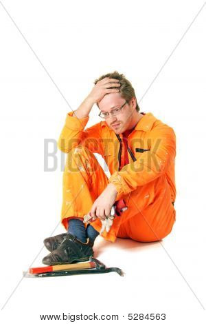 Tired Worker With Tools