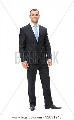 Full-length portrait of business man, isolated. Concept of leadership and success