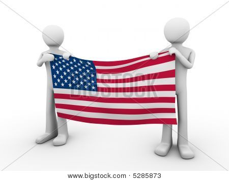 Fourth Of July: Holding Us Flag