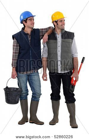 Pair of construction workers