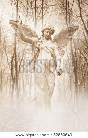 Angelic female figure materialising in an atmospheric misty forest rendered in warm sepia tones. poster