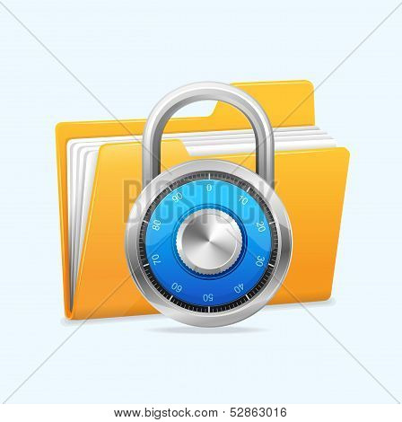 Yellow computer folder and combination lock.