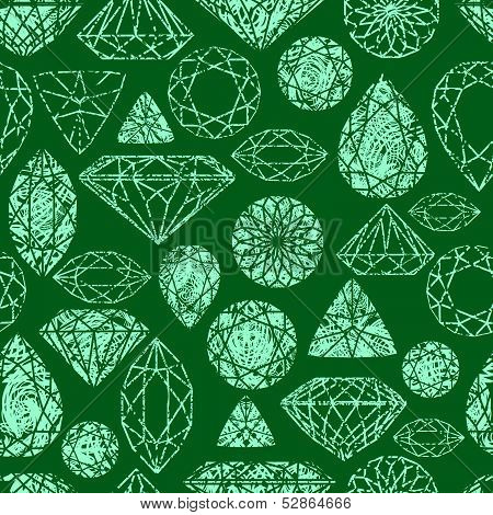 Vector grunge seamless pattern from diamond design elements poster