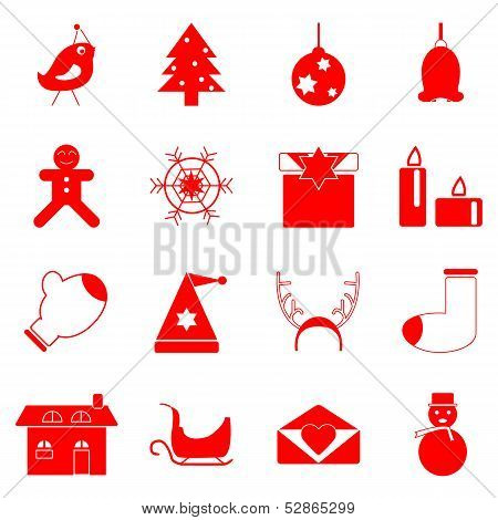 Christmas Red Icons On White Background