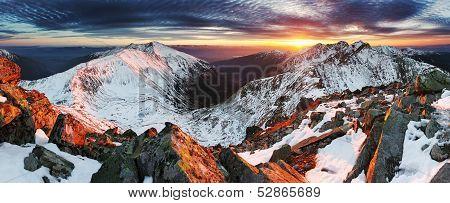 Winter mountain panorama landscape at sunset Slovakia - West Tatras poster