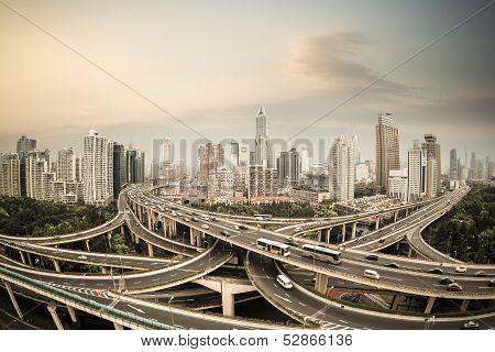 Shanghai Elevated Road Junction Panorama