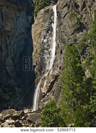 Upper And Lower Yosemite Falls With A Powerful Spring Water Flow In Vertical Composition