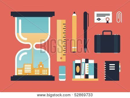 Flat design vector illustration icons set of business experience oldschool education objects and time passing knowledge concept. Isolated on stylish red background poster