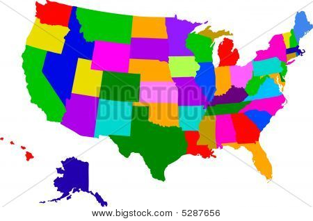 Colorful Map Of Usa