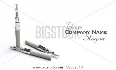 3D rendering of a pair of e-cigarettes, with lots of copy space