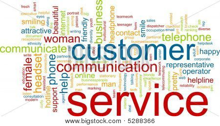 Word cloud concept illustration of customer service poster