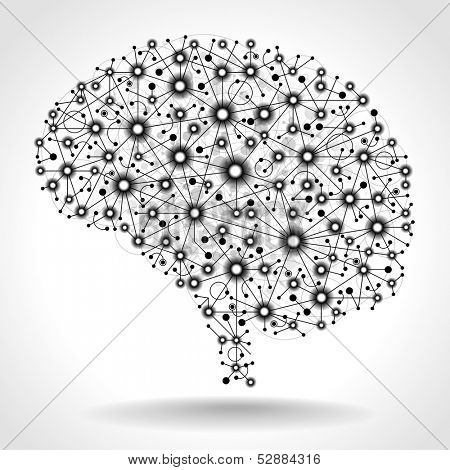 The concept of thinking. Nodes connected by straight lines form the shape of the human brain. The file is saved in the version AI10 EPS. This image contains transparency. poster