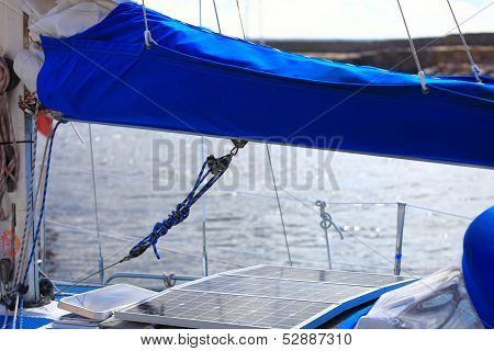 Solar Panels In Sailboat. Renewable Eco Energy