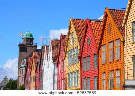 Bergen - famous town in Hordaland county Norway. Bryggen quarter UNESCO World Heritage Site. poster