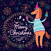 Stylish Merry Christmas card with 2014 symbol - cartoon funny horse in sweater in vector poster