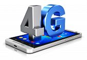 Creative abstract mobile telecommunication cellular high speed data connection business concept: blue metallic 4G LTE wireless communication technology symbol, icon or button on modern metal black glossy touchscreen smartphone with colorful interface poster