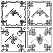 Collection of decorative Celtic knot corners patterns poster