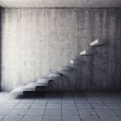Abstract concrete staircase in interior poster