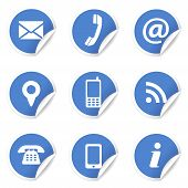Web and Internet contact us icons set and design symbols on blue circular labels with curl. EPS10 vector illustration isolated on white background. poster