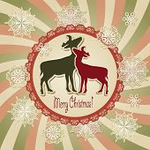 vector christmas scrapbook greeting card with deers and snowflakes retro style fully editable eps 10 file with transparency effects standart AI font poster