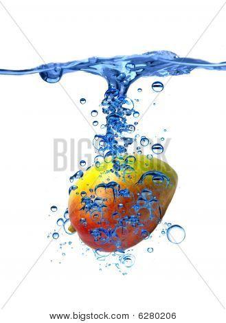 Mango splash isolated on a white background poster