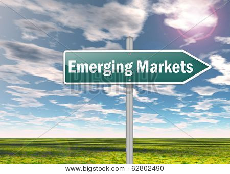 Signpost Image Illustration with Emerging Markets wording poster