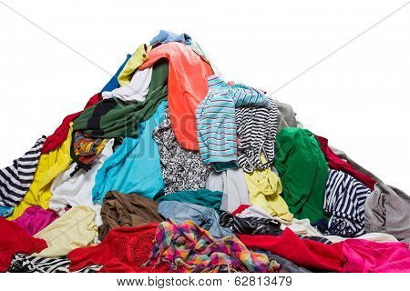 Big heap of colorful clothes poster