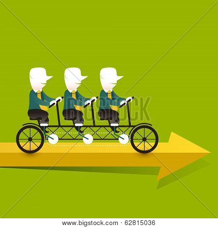 Flat Design Illustration Concept Of Cooperation Triplets