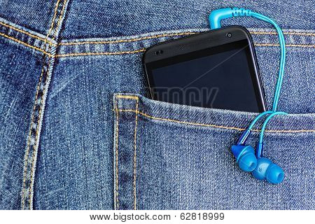 Htc Mobile Phone In A Jeans Pocket