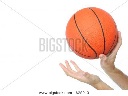 Hands Throwing Or Catching A Basketball Ball Isolated