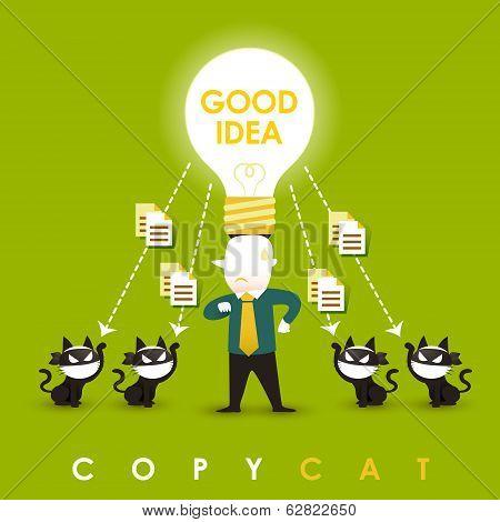Flat Design Illustration Concept Of Copycat