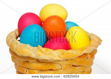 Baked Basket With Easter Colored Eggs