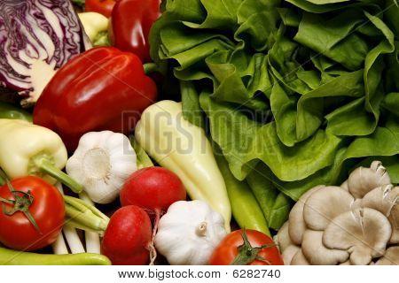 Fresh Vegetables Like Salad, Pepper, Tomato, Garlic, Radish, Onion, Red Cabbage And Mushroom