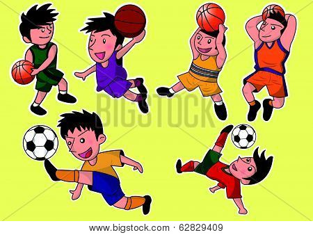 cartoon soccer and basketball player