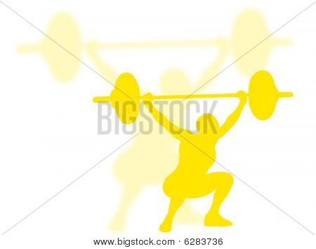 Man lifting weights as symbol of sport poster