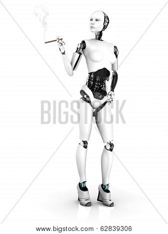 A sexy female robot smoking a cigar. White background. poster