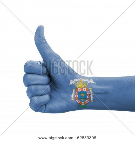 Hand with thumb up Melilla flag painted as symbol of excellence achievement good - isolated on white background poster