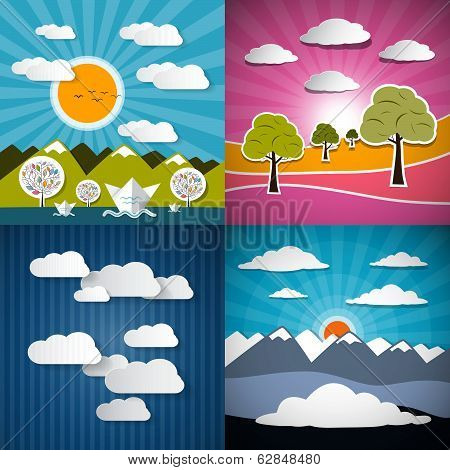 Nature Paper Illustration Set - Mountains, Meadow, Sky and River